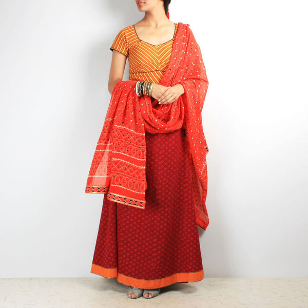 Block print & leheriya chaniya-choli & dupatta set by NOYA