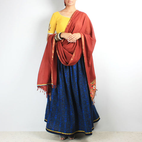 Blue & yellow chaniya-choli & dupatta set by NOYA