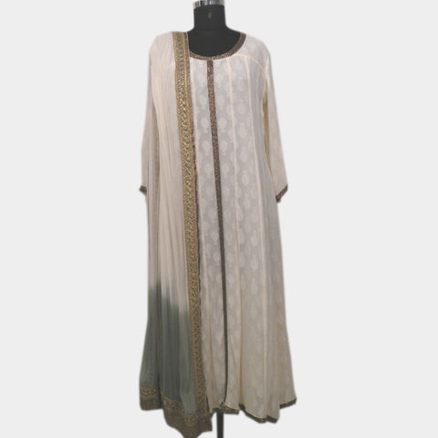 Georgette Angarkha Anarkali- Off White with Dupatta by NOYA