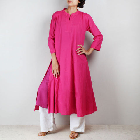 Flared side cut pink tunic with inner by NOYA