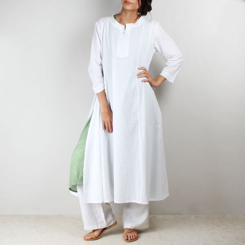 Flared side cut white tunic with inner by NOYA