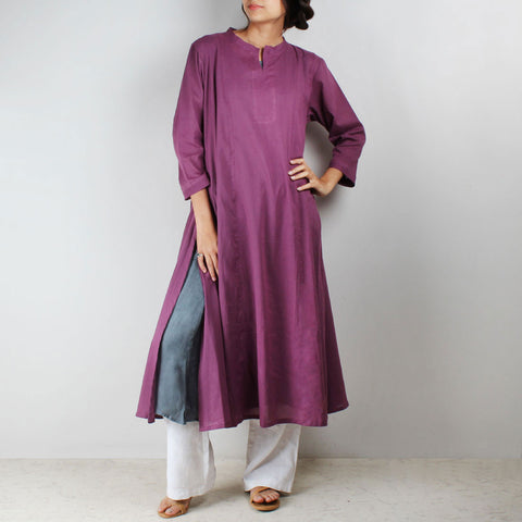 Flared side cut purple tunic with inner by NOYA