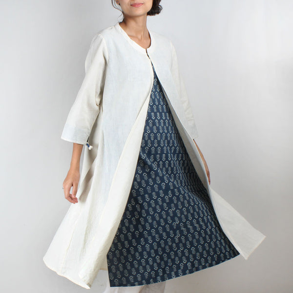Khadi Kurta With Front Slit And Blue Inner