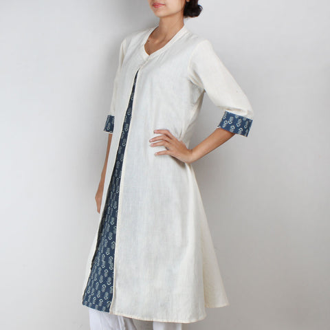 Khadi Kurta with front slit and blue inner by NOYA