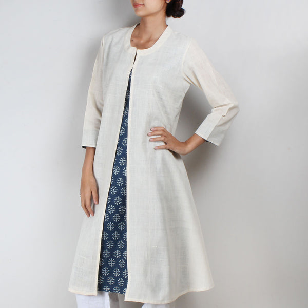 Khadi Kurta With Front Slit And Blue Block Print Inner
