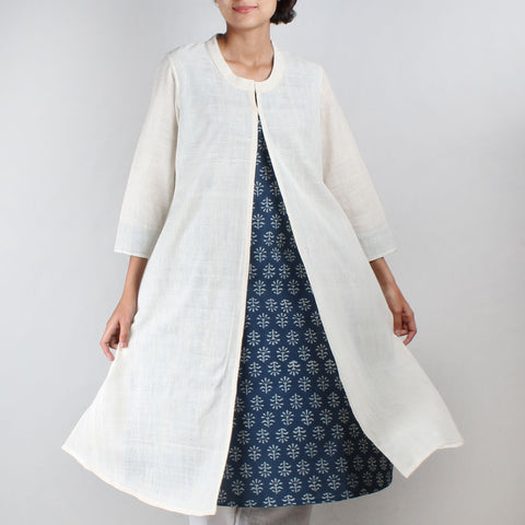 Khadi Kurta with front slit and blue block print inner by NOYA