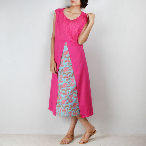 Pink floral motif tunic with front slit by NOYA