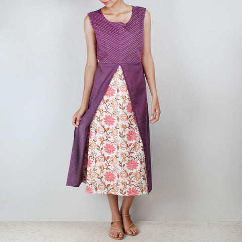 Purple floral motif tunic with front slit by NOYA