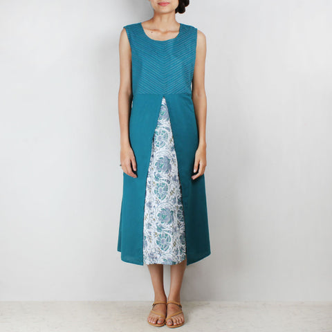 Blue floral motif tunic with front slit by NOYA
