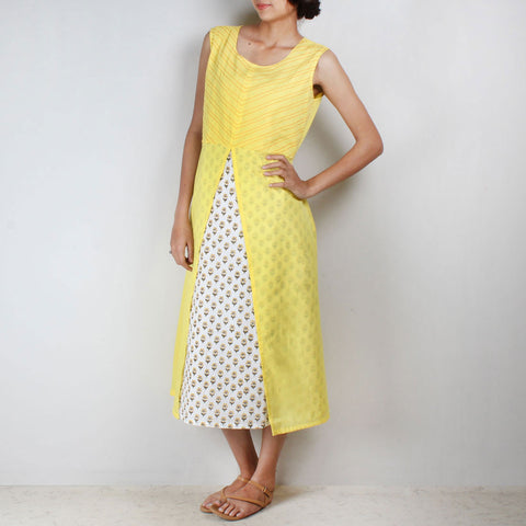 Yellow floral motif tunic with front slit by NOYA
