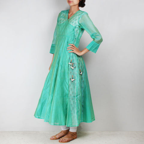 Green Silk Angarkha with floral motif Inner by NOYA