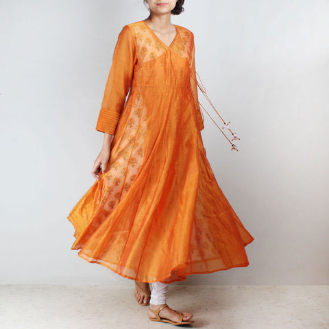 Orange Silk Angarkha with floral motif Inner by NOYA