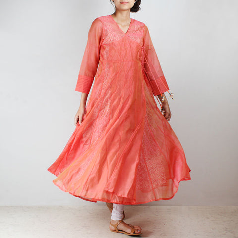 Pink Silk Angarkha with floral motif Inner by NOYA