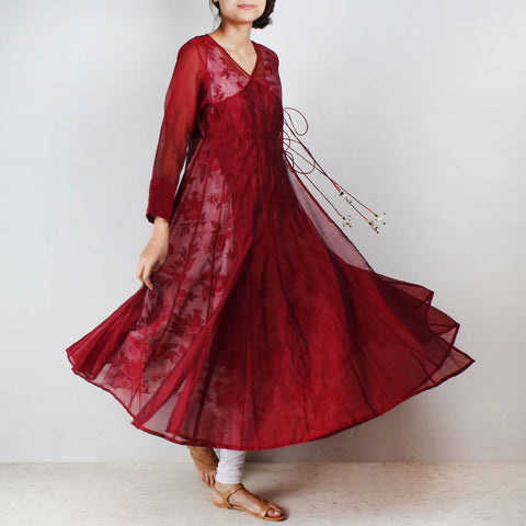 Red Silk Angarkha with floral motif Inner by NOYA