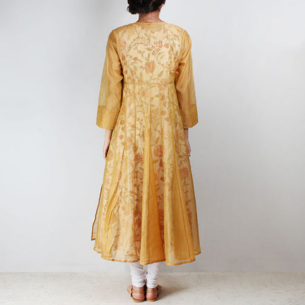 Yellow Silk Angarkha With Floral Motif Inner