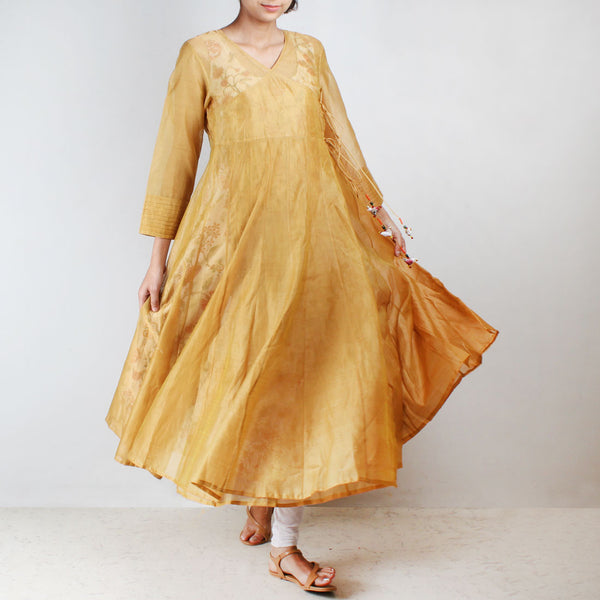 Yellow Silk Angarkha with floral motif Inner by NOYA