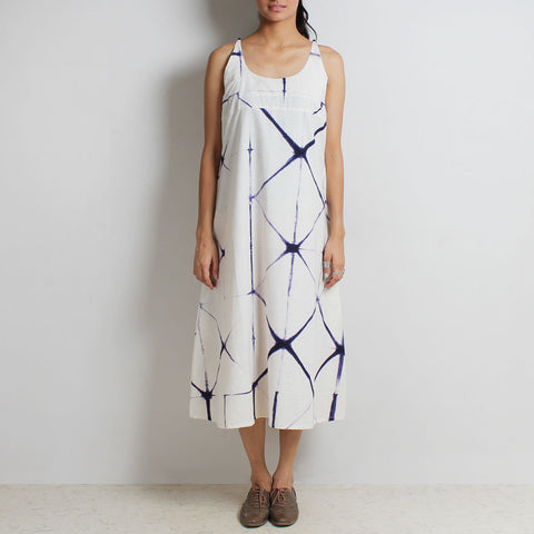 Clamp Tie & Dye White & Blue Organic Cotton A Line Dress by NOYA