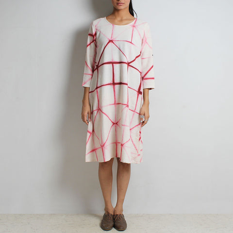 Clamp Tie & Dye White & Red Organic Cotton Dress by NOYA