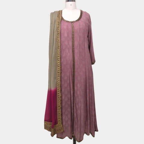 Georgette Angarkha Anarkali- Dull Rose with Dupatta by NOYA