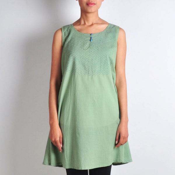 Dull Green Tunic With Printed Shrug