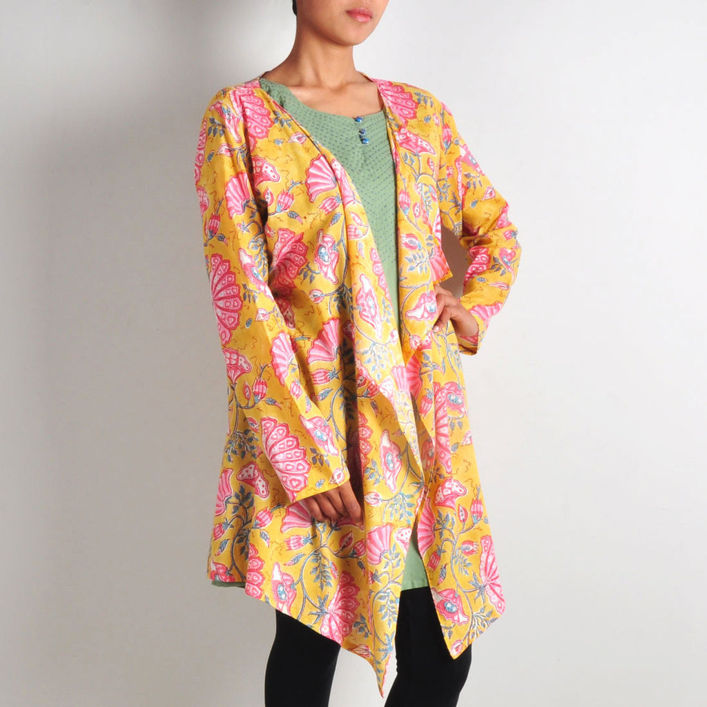 Dull Green Tunic with Printed Shrug by NOYA