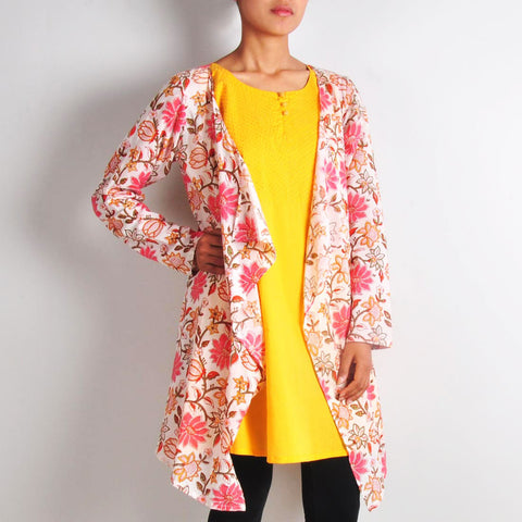 Bright Yellow Tunic with Printed Shrug by NOYA