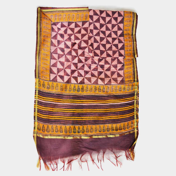 Maroon And Yellow Triangle Pattern Printed Chanderi Stole