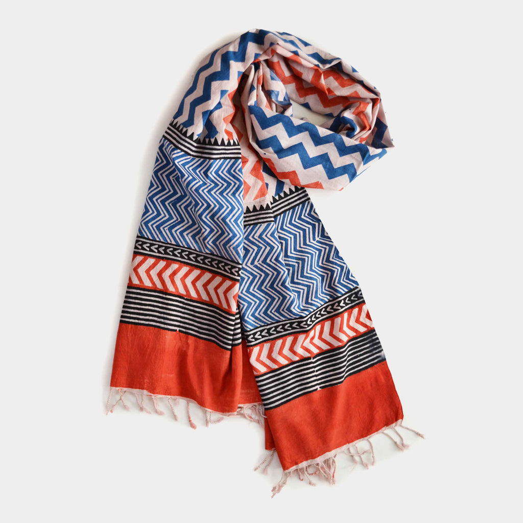 Orange And Blue Zigzag Printed Cotton Stole by Noorani Biswas