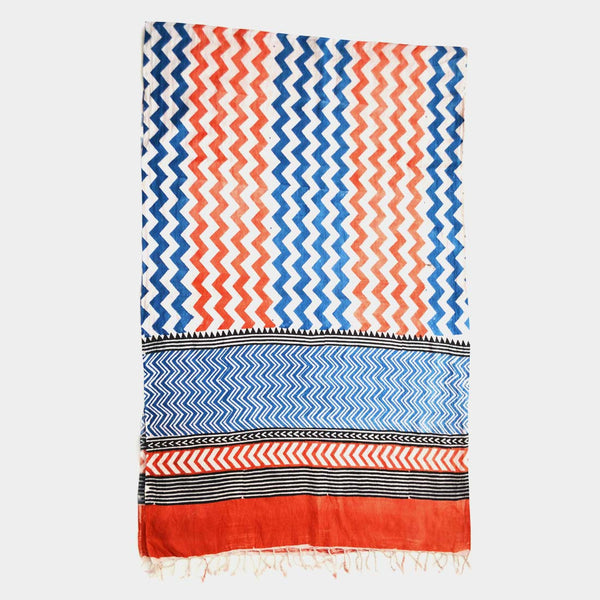 Orange And Blue Zigzag Printed Cotton Stole