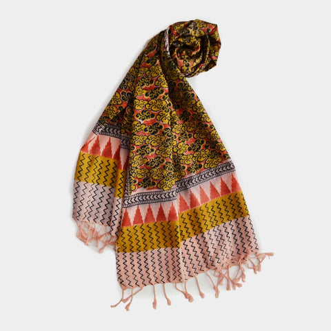 Mustard And Orange Cloud Printed Cotton Stole by Noorani Biswas