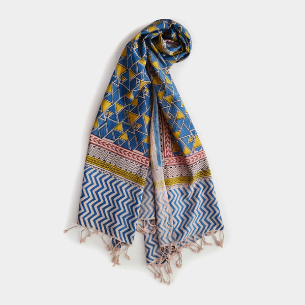Yellow And Blue Triangular Printed Cotton Stole