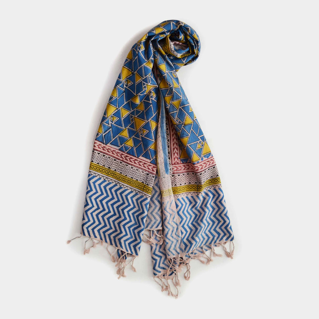 Yellow And Blue Triangular Printed Cotton Stole by Noorani Biswas