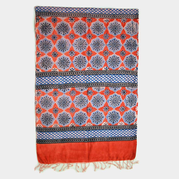 Blue And Orange Floral Printed Cotton Stole