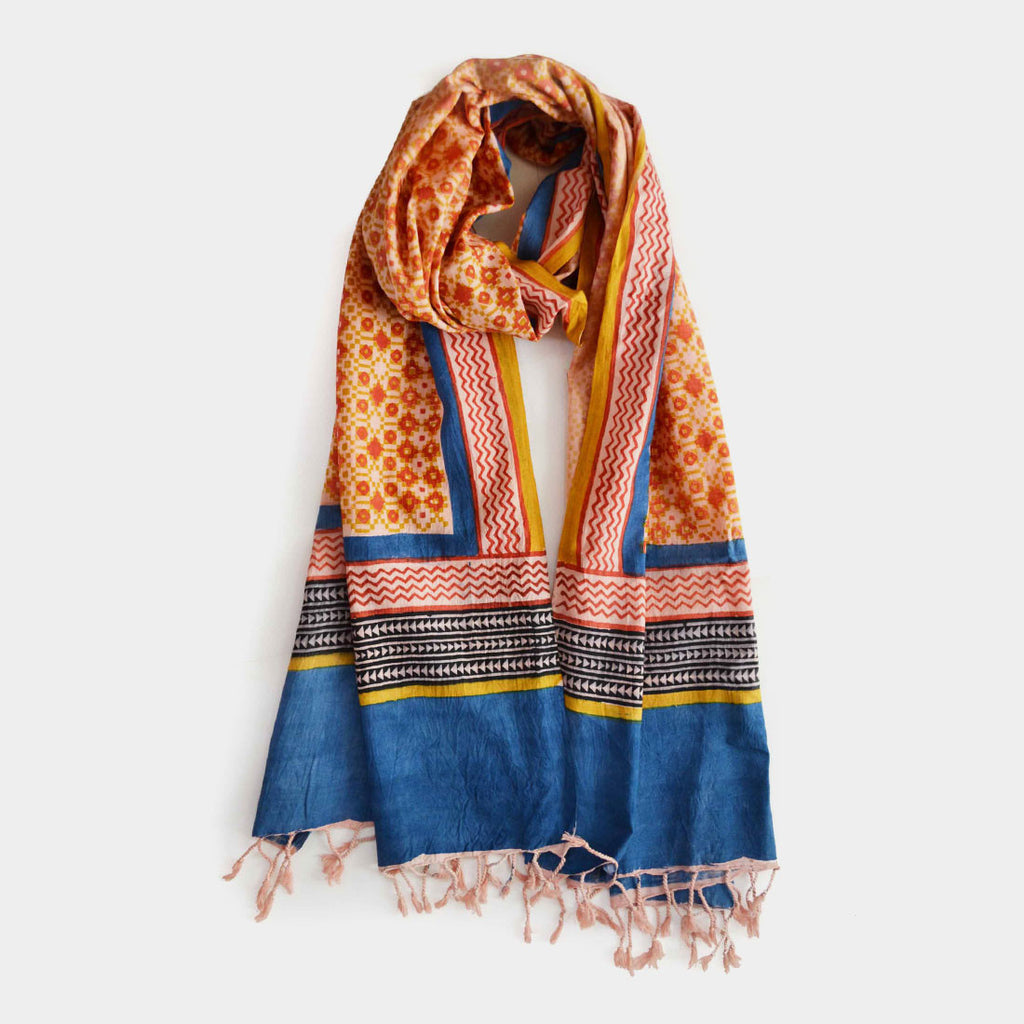 Yellow-Orange Printed Cotton Stole by Noorani Biswas
