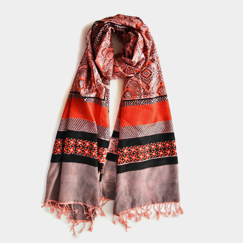 Orange And Black Cotton Printed Stole by Noorani Biswas