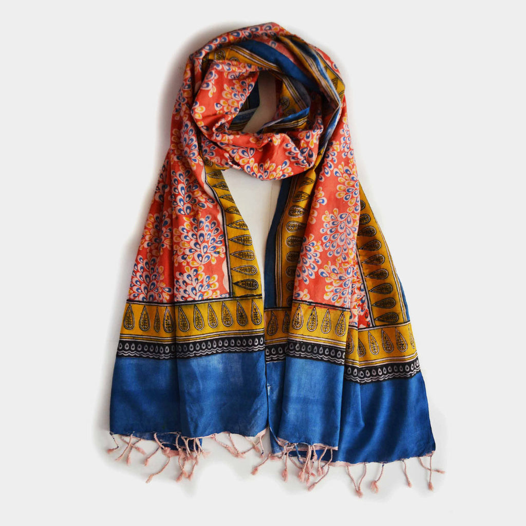 Blue And Orange Printed Cotton Stole by Noorani Biswas