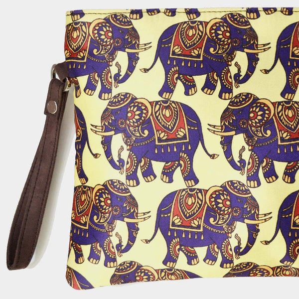Yellow Poly Suede Elephant Pouch