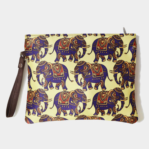 Yellow Poly Suede Elephant Pouch by Noorani Biswas