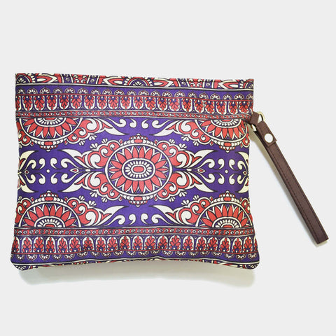 Multicoloured Poly Suede Classic Border Pouch by Noorani Biswas