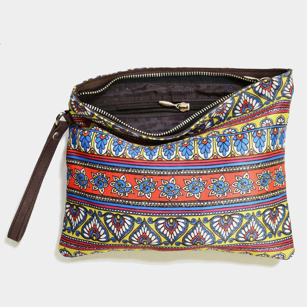 Multicolourd Poly Suede Border Pouch