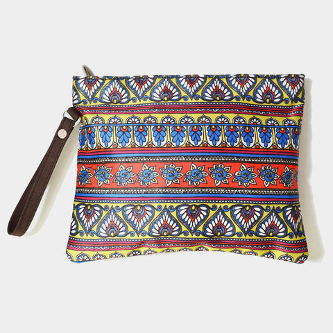 Multicolourd Poly Suede Border Pouch by Noorani Biswas