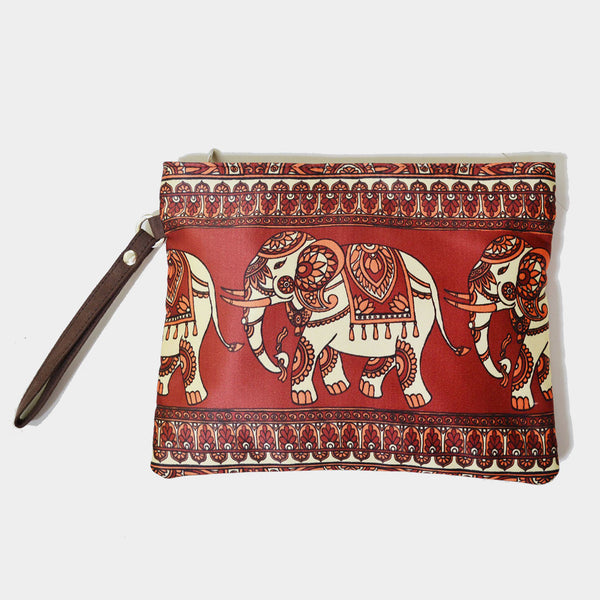 Red Poly Suede Traditional Elephant Pouch by Noorani Biswas