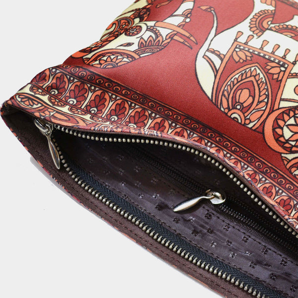 Red Poly Suede Traditional Elephant Pouch