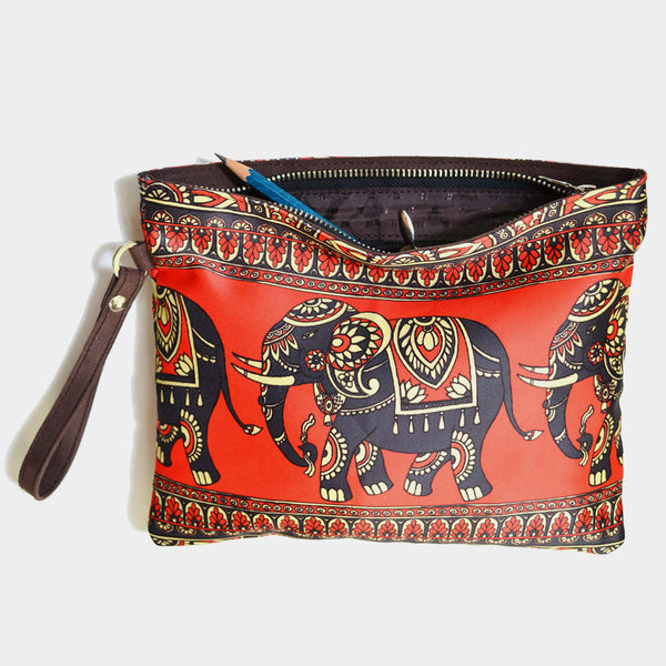 Red Poly Suede Classic Elephant Pouch