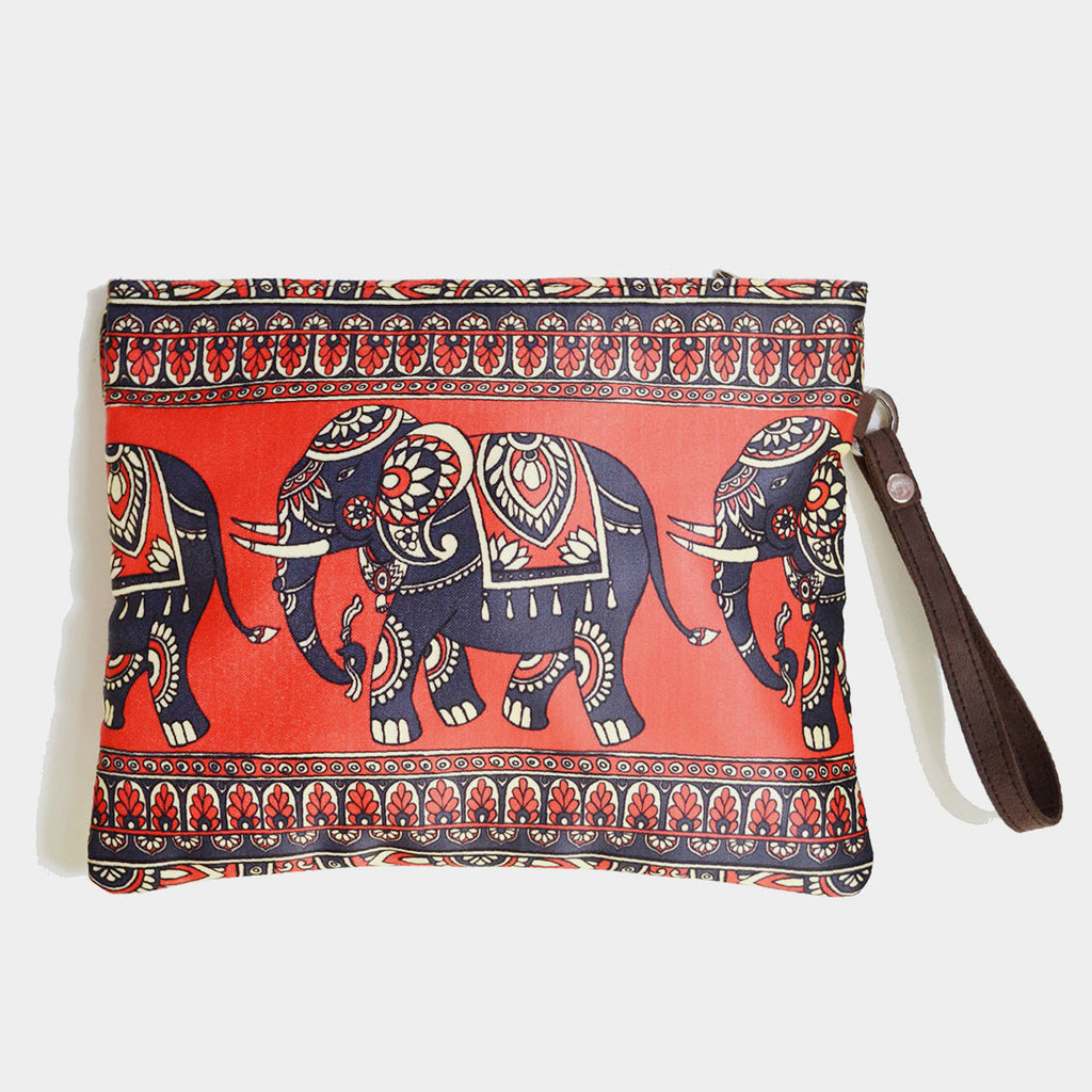 Red Poly Suede Classic Elephant Pouch by Noorani Biswas