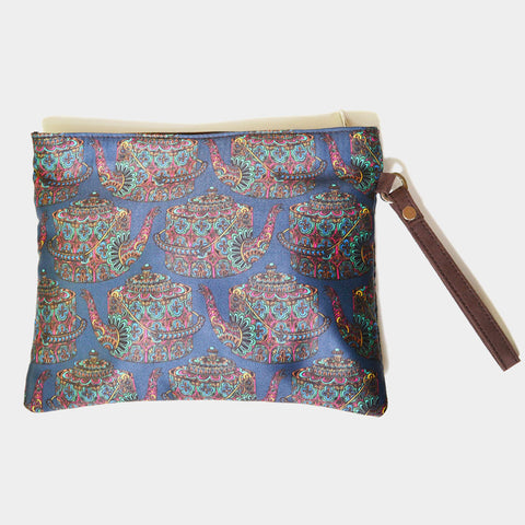 Blue Poly Suede Kettle Pouch by Noorani Biswas