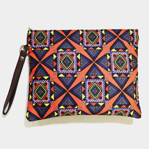 Multicoloured Poly Suede Graphic Pouch by Noorani Biswas