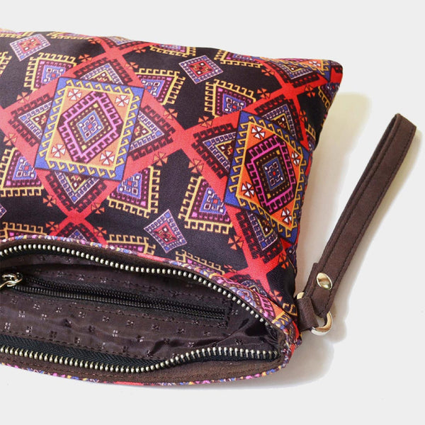Multicoloured Poly Suede Graphic Design Pouch