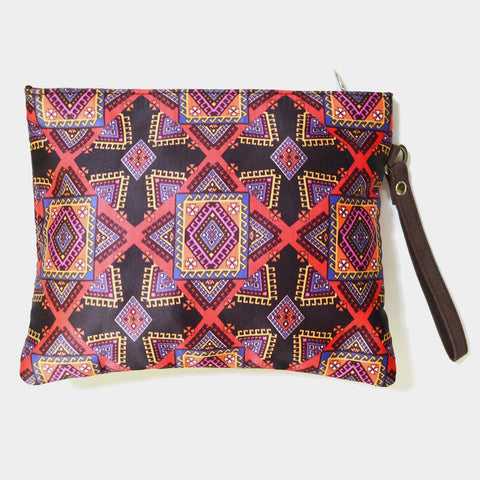 Multicoloured Poly Suede Graphic Design Pouch by Noorani Biswas