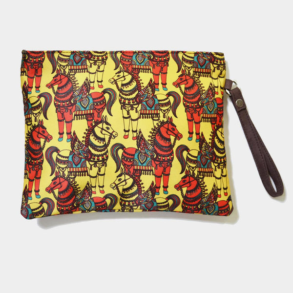 Yellow Poly Suede Horses Pouch by Noorani Biswas